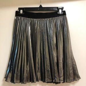Express Chrome/Metallic Pleated Circle Skirt